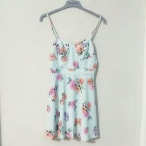 Forever 21 Mint Floral Dress - Small